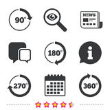 Angle degrees circle icons. Geometry math signs. Angle 45-360 degrees circle icons. Geometry math signs symbols. Full complete rotation arrow. Newspaper Stock Photo