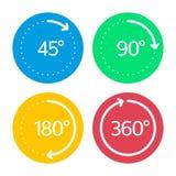 Angle degrees circle icons set. Royalty Free Stock Photos