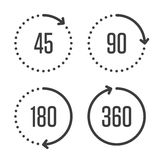 Angle degrees circle icons. Set of angles 45, 90, 180 and 360 degrees icons. Arrows rotation circle symbol set. Geometry math signs symbols. Full complete Royalty Free Stock Photography