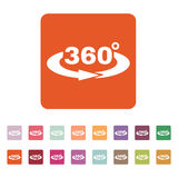 The Angle 360 degrees icon. Rotation symbol. Flat. Vector illustration. Button Set Royalty Free Stock Images