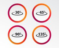 Angle degrees icons. Geometry math signs. Angle 30-135 degrees icons. Geometry math signs symbols. Full complete rotation arrow. Infographic design buttons Royalty Free Stock Photos