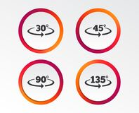 Angle degrees icons. Geometry math signs. Angle 30-135 degrees icons. Geometry math signs symbols. Full complete rotation arrow. Infographic design buttons Stock Photos