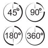 Angle 45 90 180 360 degrees icons. Stock Photo