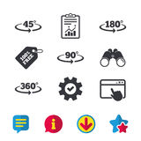 Angle degrees icons. Geometry math signs. Angle 45-360 degrees icons. Geometry math signs symbols. Full complete rotation arrow. Browser window, Report and Stock Photo