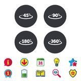 Angle degrees icons. Geometry math signs. Angle 45-360 degrees icons. Geometry math signs symbols. Full complete rotation arrow. Calendar, Information and Royalty Free Stock Photos