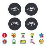 Angle degrees icons. Geometry math signs. Angle 45-360 degrees icons. Geometry math signs symbols. Full complete rotation arrow. Calendar, Information and Stock Image