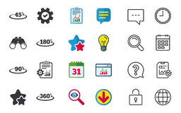 Angle degrees icons. Geometry math signs. Angle 45-360 degrees icons. Geometry math signs symbols. Full complete rotation arrow. Chat, Report and Calendar signs Stock Photo