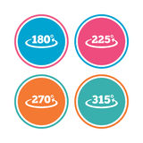 Angle degrees icons. Geometry math signs. Angle 180-315 degrees icons. Geometry math signs symbols. Full complete rotation arrow. Colored circle buttons. Vector Stock Photography