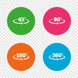 Angle degrees icons. Geometry math signs. Angle 45-360 degrees icons. Geometry math signs symbols. Full complete rotation arrow. Round buttons on transparent Stock Photography