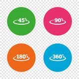 Angle degrees icons. Geometry math signs. Angle 45-360 degrees icons. Geometry math signs symbols. Full complete rotation arrow. Round buttons on transparent Royalty Free Stock Images