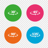 Angle degrees icons. Geometry math signs. Royalty Free Stock Photos