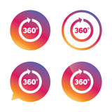 Angle 360 degrees sign icon. Geometry math symbol. Full rotation. Gradient buttons with flat icon. Speech bubble sign. Vector Royalty Free Stock Image