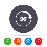 Angle 90 degrees sign icon. Geometry math symbol. Right angle. Round colourful buttons with flat icons. Vector Stock Photography