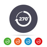 Angle 270 degrees sign icon. Geometry math symbol. Round colourful buttons with flat icons. Vector Royalty Free Stock Image