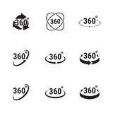 Angle 360 degrees sign icons. Angle 360 degrees sign. black icons on a white background Royalty Free Stock Images