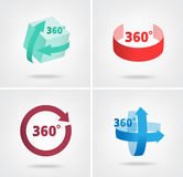 Angle 360 degrees sign icons. Geometry math symbol Royalty Free Stock Image