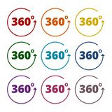 Angle 360 degrees sign icons set. Vector icon Stock Image