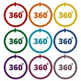 Angle 360 degrees sign icons set. Vector icon Stock Images