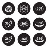 Angle 360 degrees sign icons. White on a black background Royalty Free Stock Photos