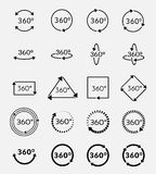 Angle 360 degrees vector icons set. Arrow geometry, measure turn, rotate signs Royalty Free Stock Images