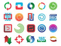 Angle 360 degrees web icons shape mark vector illustration geometry math signs badge full information symbols Stock Images