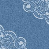 Angle. Denim background with white lace pattern on the corners. Vector illustration Royalty Free Stock Photo