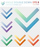 Angle double down geometric polygonal icons. Alive mosaic style symbol collection. Breathtaking low poly style. Modern design. Angle double down icons set for Royalty Free Stock Images