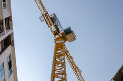 Angle of elevation of tower crane. In construction site Stock Images