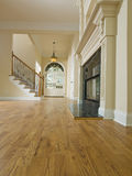 Angle faible à la maison de luxe de foyer et de cheminée Photos stock