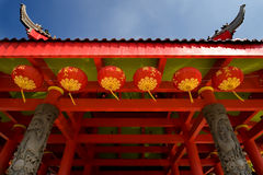 Angle faible de temple chinois Images stock