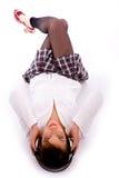 angle floor high listening music view woman Στοκ εικόνες με δικαίωμα ελεύθερης χρήσης