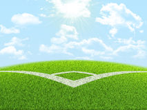Angle of football field Royalty Free Stock Photo
