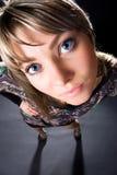 angle funny portrait studio wide woman Στοκ εικόνες με δικαίωμα ελεύθερης χρήσης