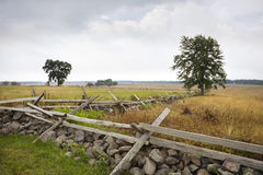 The Angle at Gettysburg, scene of Pickett's Charge. Looking southwest at The Angle on the Gettysburg battlefield. View is from the Union defenses. This is the Stock Photo