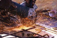 Angle grinder. Cu of angle grinder,sparks flying Royalty Free Stock Photos