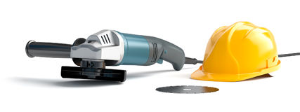Angle grinder and construction helmet Royalty Free Stock Image
