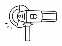 Angle grinder icon. Angle grinder line icon on white background. Vector illustration Royalty Free Stock Photo