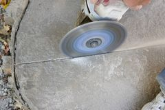 Angle Grinder Scoring Concrete Stock Image