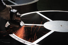 ANGLE GRINDER SPARKS. Sparks from an angle grinder Royalty Free Stock Photos