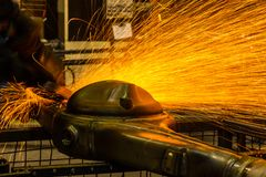Angle grinder sparks Royalty Free Stock Images
