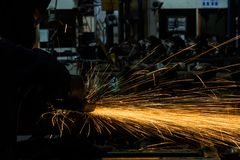 Angle grinder sparks Royalty Free Stock Photos