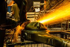 Angle grinder sparks Stock Photos