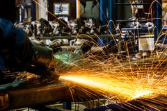 Angle grinder sparks Royalty Free Stock Photography