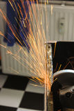Angle grinder sparks close-up Royalty Free Stock Photo
