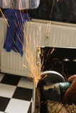 Angle grinder sparks close-up Stock Photo