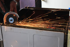 Angle grinder sparks close-up Royalty Free Stock Image