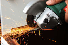 Angle grinder sparks close-up Royalty Free Stock Images