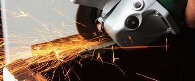 Angle grinder sparks close-up Royalty Free Stock Photography