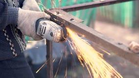 Angle Grinder Sparks Old Metal stock video footage