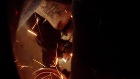 Angle Grinder strike sparks in the dark stock video